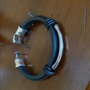 Leather Silver Metal Bracelet
